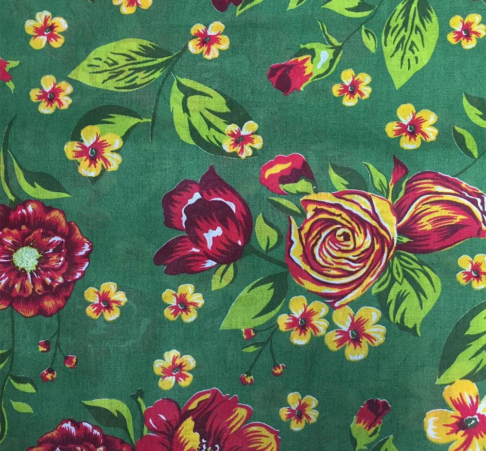 Chita Floral Verde Com Vermelho