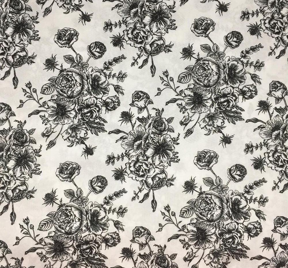 Viscose Floral Buque Branco e Preto
