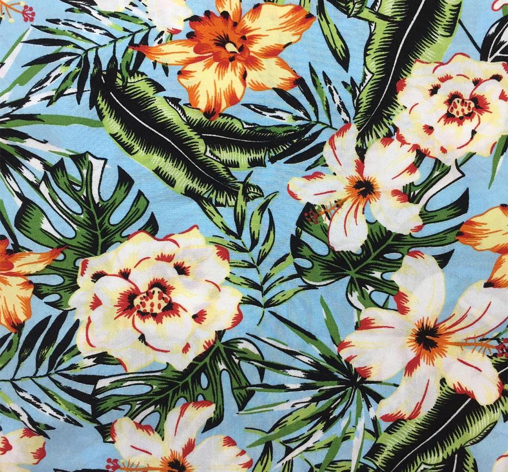 Viscose Floral Fundo Azul