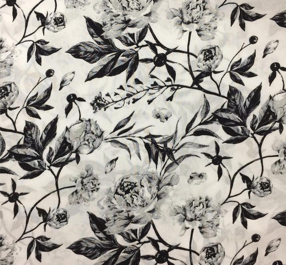 Viscose Floral Fundo Branco