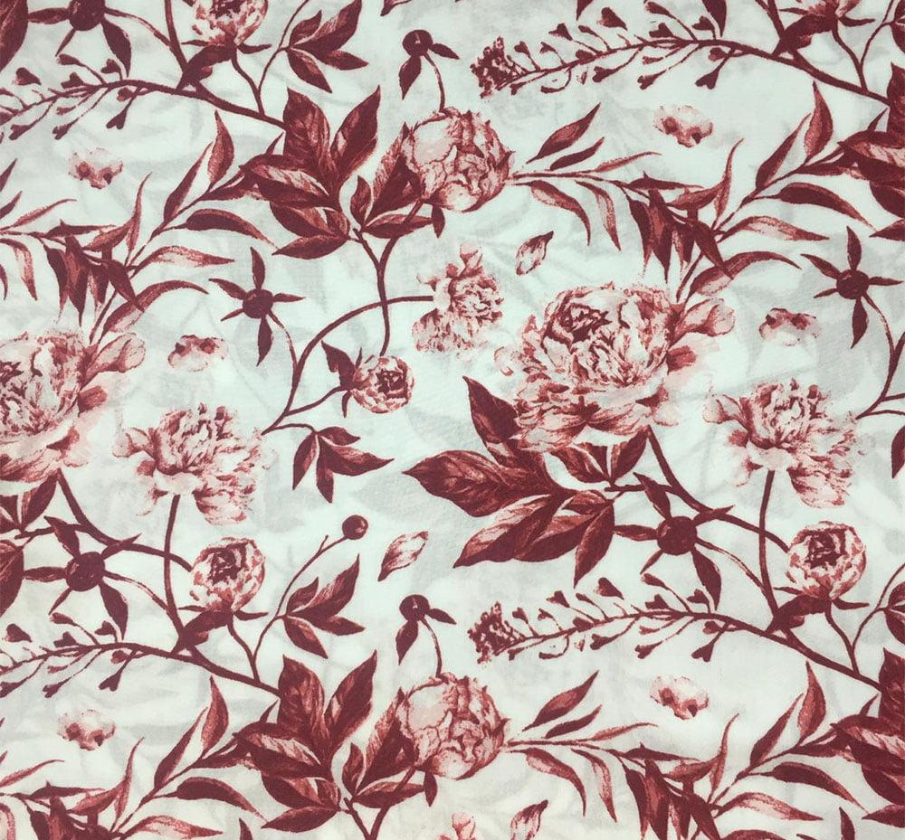 Viscose Floral Rosa Vermelha