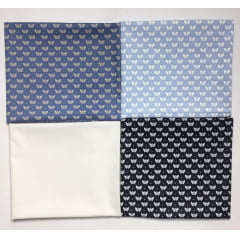Kit Tricoline Borboletas Tons Azul