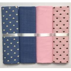 Kit Tricoline Coração Rosa Jeans
