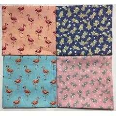 Kit Tricoline Raposa Flamingo