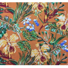 Viscose Floral Fundo Laranja