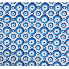 Tricoline Olho Grego Branco Azul