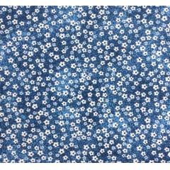Tricoline Mini Flores Azul