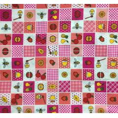 Tricoline Patchwork Frutas Rosa
