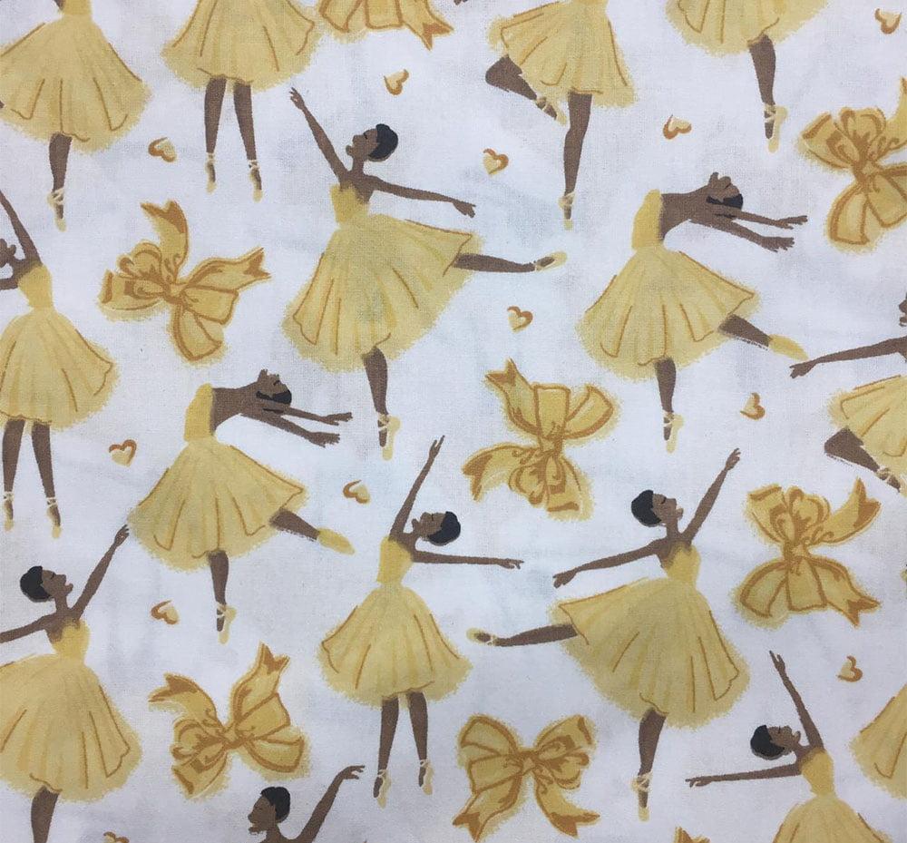 Tricoline Bailarina Laço Amarelo