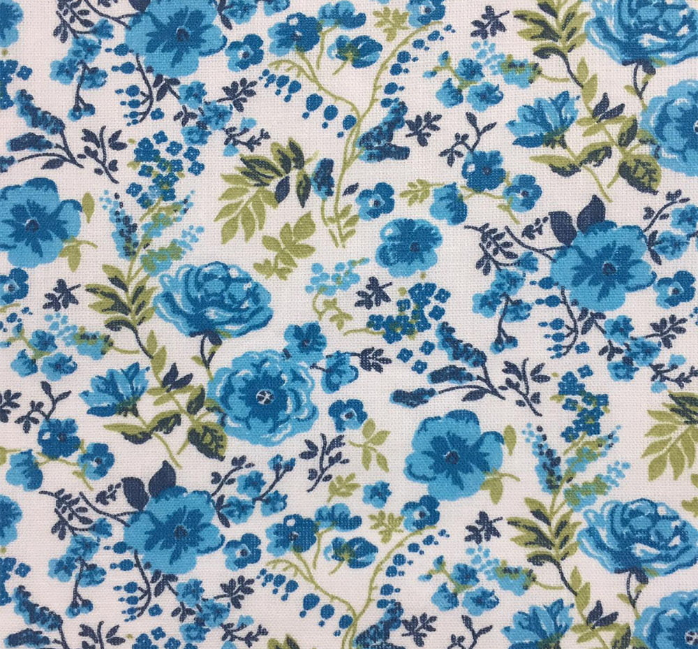 Tricoline Mista Rosas Azul